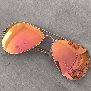 Ray Ban Pink Gold Mirror Aviator Sunglasses RayBan